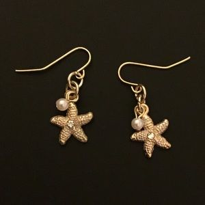 Gold Starfish Dangle Earrings